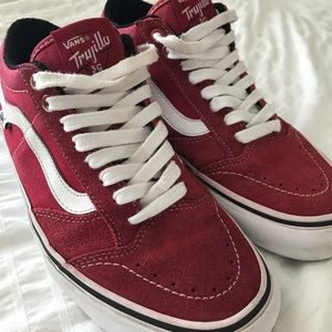 813a2f28b120a2 Vans Shoes - VANS Pro red   white sneakers - Trujillo SG